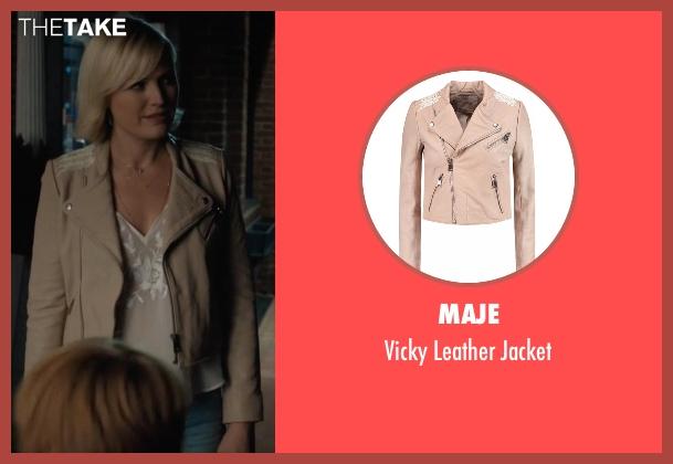 Maje beige jacket from Billions seen with Lara Axelrod (Malin Akerman)