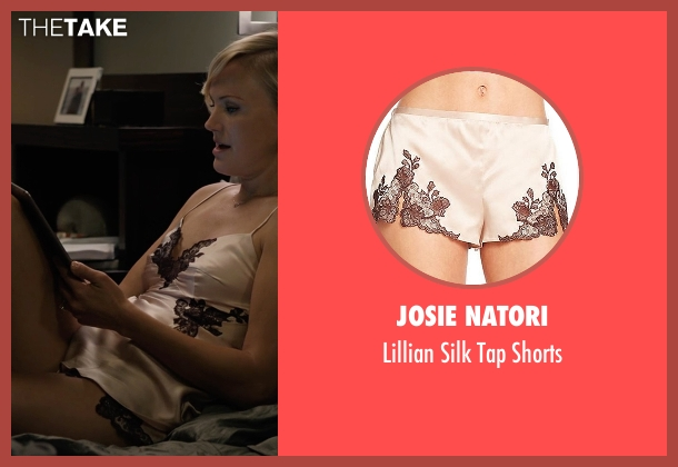 Josie Natori beige shorts from Billions seen with Lara Axelrod (Malin Akerman)