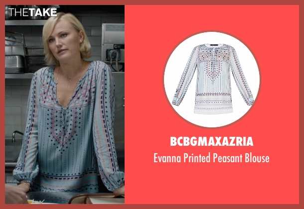 BCBGMAXAZRIA blue blouse from Billions seen with Lara Axelrod (Malin Akerman)