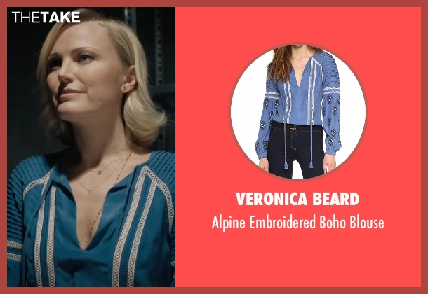 Veronica Beard blue blouse from Billions seen with Lara Axelrod (Malin Akerman)