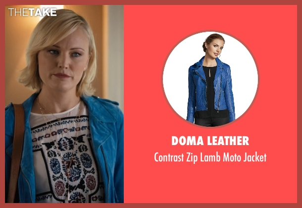 Doma Leather blue jacket from Billions seen with Lara Axelrod (Malin Akerman)