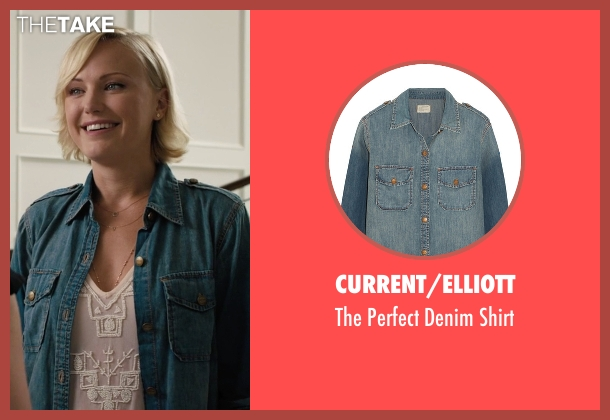 Current/Elliott blue shirt from Billions seen with Lara Axelrod (Malin Akerman)