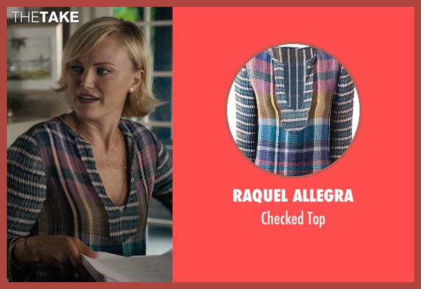 Raquel Allegra blue top from Billions seen with Lara Axelrod (Malin Akerman)