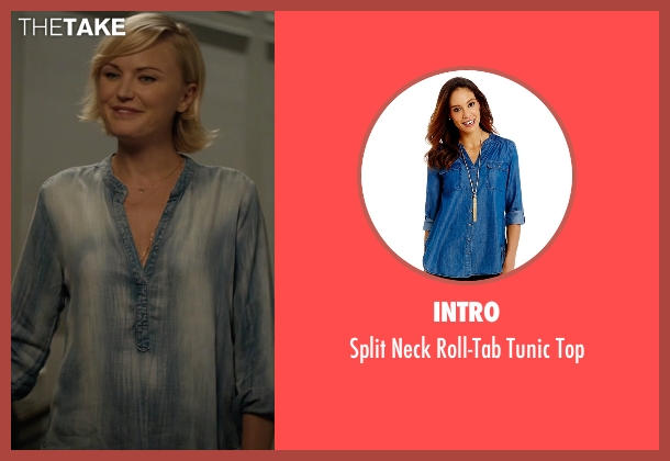 Intro blue top from Billions seen with Lara Axelrod (Malin Akerman)