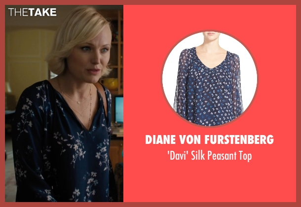 Diane von Furstenberg blue top from Billions seen with Lara Axelrod (Malin Akerman)