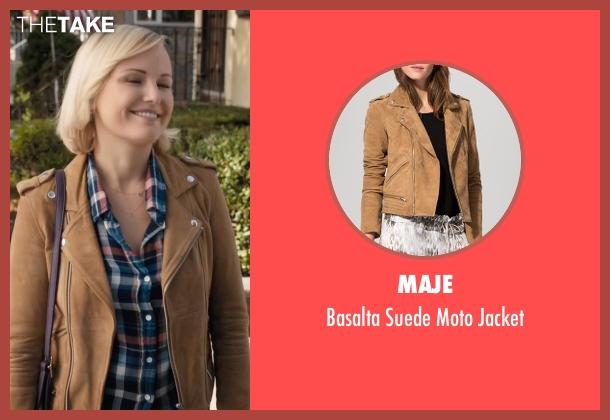 Maje brown jacket from Billions seen with Lara Axelrod (Malin Akerman)