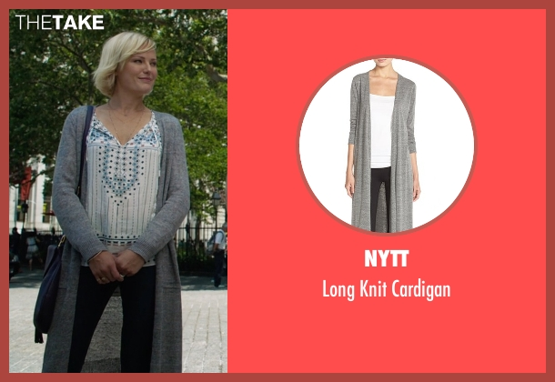 NYTT gray cardigan from Billions seen with Lara Axelrod (Malin Akerman)