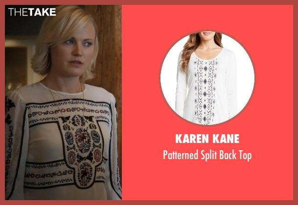 Karen Kane white top from Billions seen with Lara Axelrod (Malin Akerman)