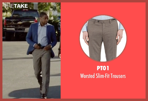 PT01 beige trousers from Ballers seen with Larry (Dulé Hill)