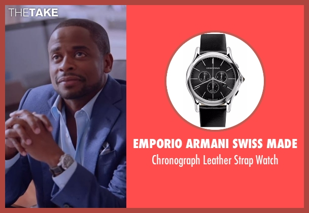 Emporio Armani Swiss Made black watch from Ballers seen with Larry (Dulé Hill)