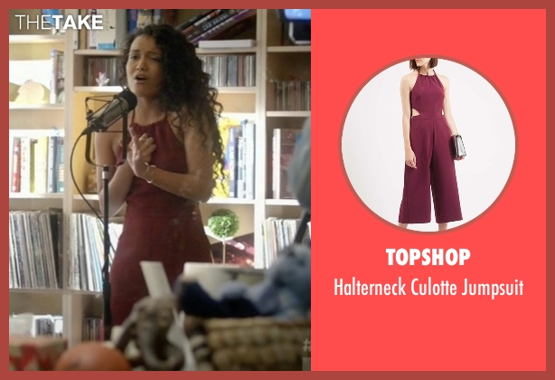 Topshop red jumpsuit from Empire seen with Laura Calleros (Jamila Velazquez)
