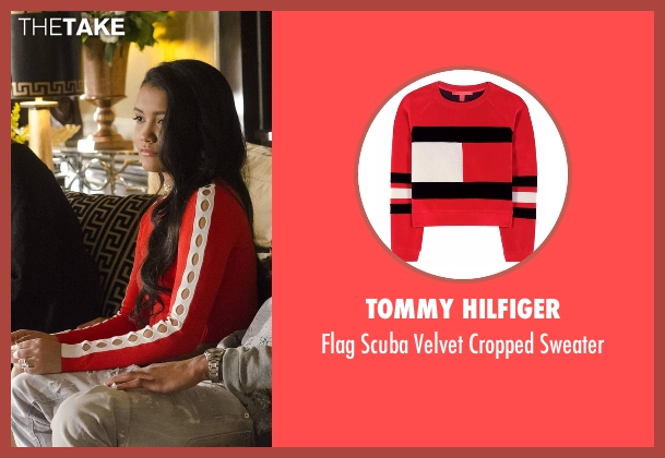 Tommy Hilfiger red sweater from Empire seen with Laura Calleros (Jamila Velazquez)