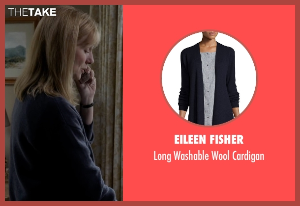 Eileen Fisher  blue cardigan from Sully seen with Laura Linney (Lorraine Sullenberger)