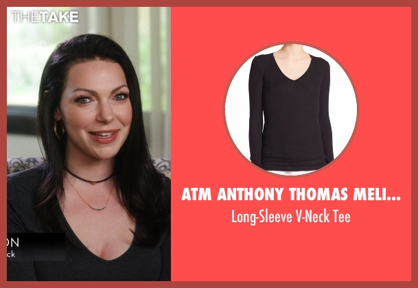 ATM Anthony Thomas Melillo black tee from Chelsea seen with Laura Prepon