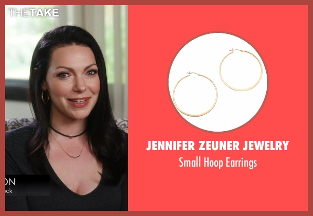 Jennifer Zeuner Jewelry gold earrings from Chelsea seen with Laura Prepon