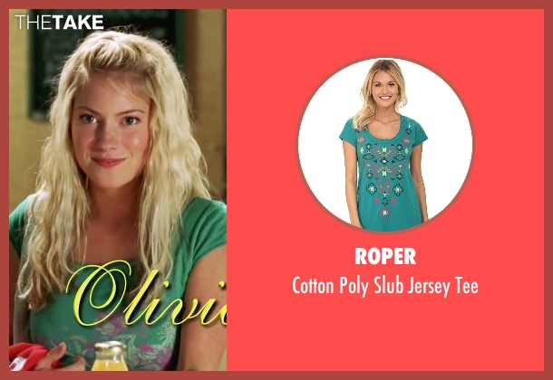 Roper green tee from She's The Man seen with Laura Ramsey (Olivia Lennox)
