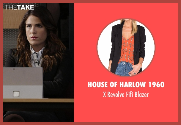 House of Harlow 1960 black blazer from How To Get Away With Murder seen with Laurel Castillo (Karla Souza)
