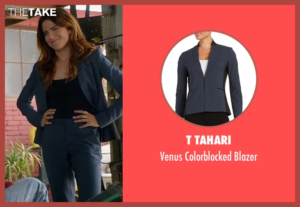 T Tahari black blazer from How To Get Away With Murder seen with Laurel Castillo (Karla Souza)