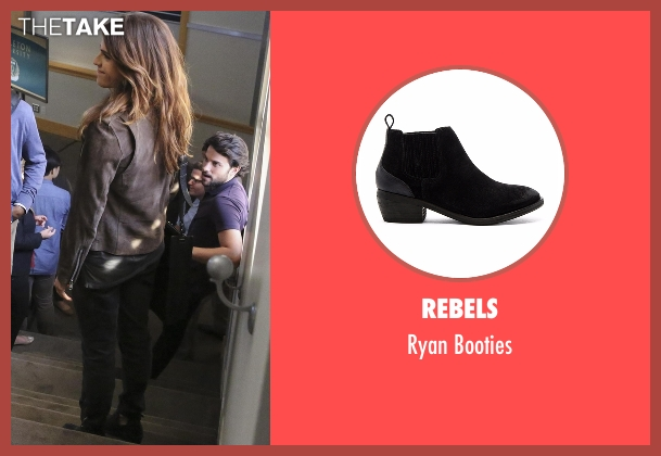 Rebels black booties from How To Get Away With Murder seen with Laurel Castillo (Karla Souza)
