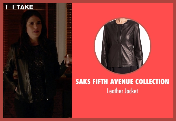 Saks Fifth Avenue Collection black jacket from How To Get Away With Murder seen with Laurel Castillo (Karla Souza)
