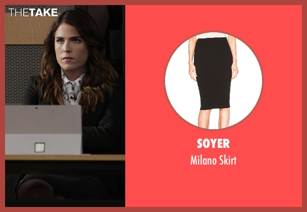 Soyer black skirt from How To Get Away With Murder seen with Laurel Castillo (Karla Souza)