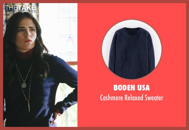 Boden USA blue sweater from How To Get Away With Murder seen with Laurel Castillo (Karla Souza)