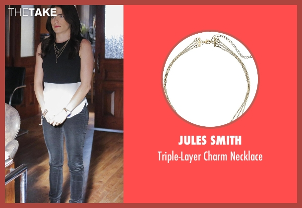 Jules Smith gold necklace from How To Get Away With Murder seen with Laurel Castillo (Karla Souza)