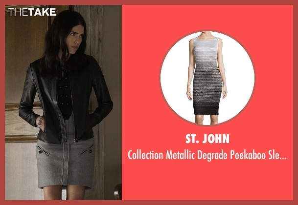 St. John gray dress from How To Get Away With Murder seen with Laurel Castillo (Karla Souza)