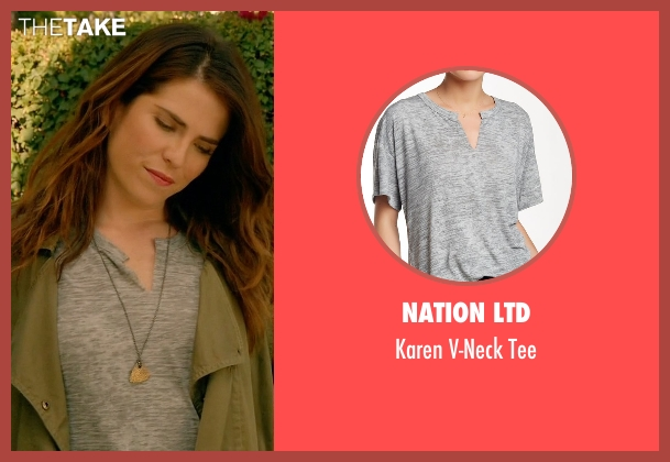 Nation LTD  gray tee from How To Get Away With Murder seen with Laurel Castillo (Karla Souza)