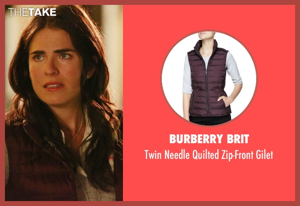 Burberry Brit red gilet from How To Get Away With Murder seen with Laurel Castillo (Karla Souza)