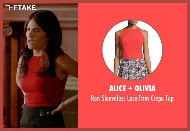 Alice + Olivia red top from How To Get Away With Murder seen with Laurel Castillo (Karla Souza)