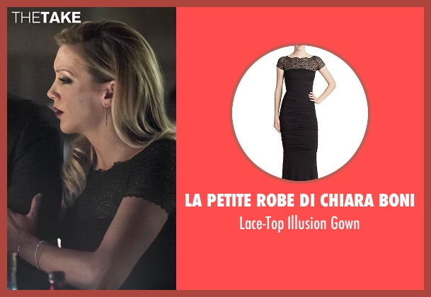 La Petite Robe Di Chiara Boni black gown from Arrow seen with Laurel Lance/Black Canary (Katie Cassidy)