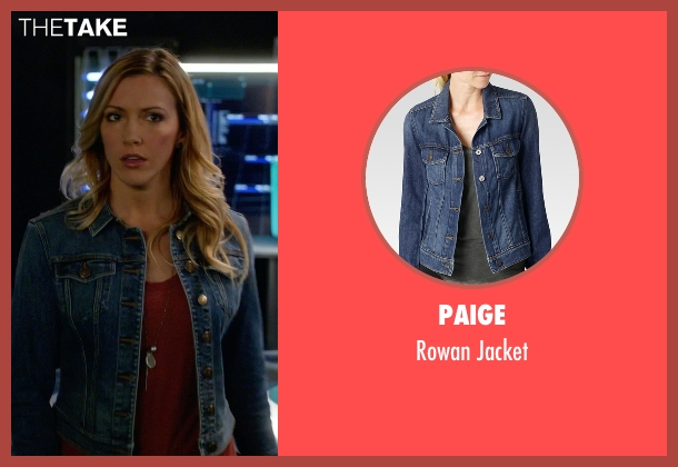 Paige blue jacket from Arrow seen with Laurel Lance/Black Canary (Katie Cassidy)