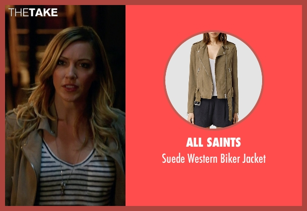 All Saints brown jacket from Arrow seen with Laurel Lance/Black Canary (Katie Cassidy)