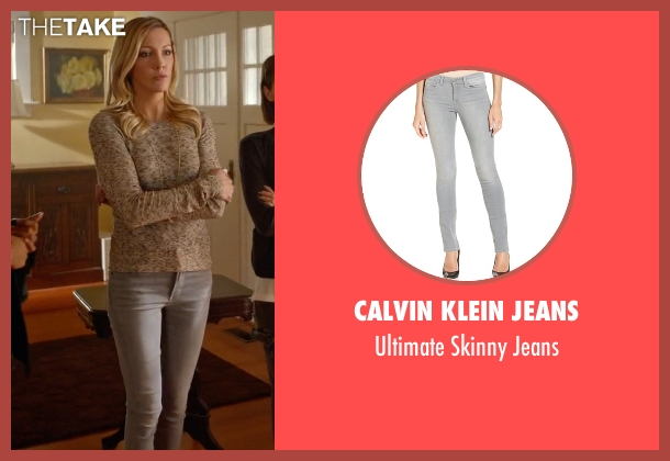 Calvin Klein Jeans gray jeans from Arrow seen with Laurel Lance/Black Canary (Katie Cassidy)