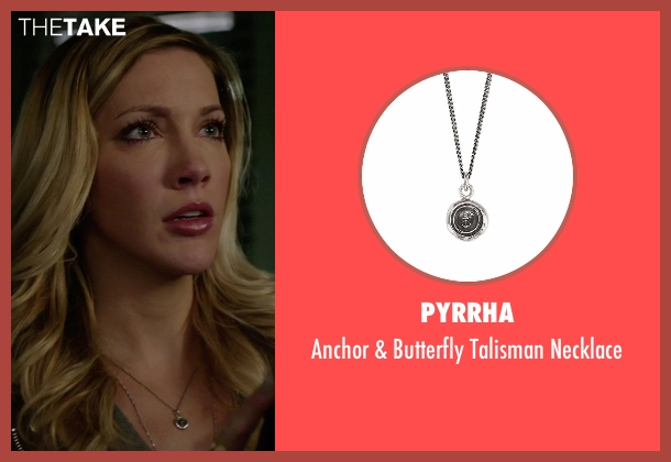 Pyrrha silver necklace from Arrow seen with Laurel Lance/Black Canary (Katie Cassidy)
