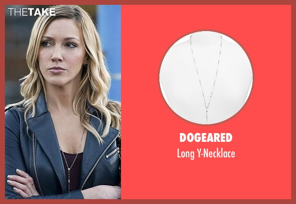 Dogeared silver y-necklace from Arrow seen with Laurel Lance/Black Canary (Katie Cassidy)