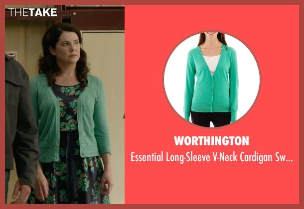 Worthington green sweater from Max seen with Lauren Graham (Pamela)