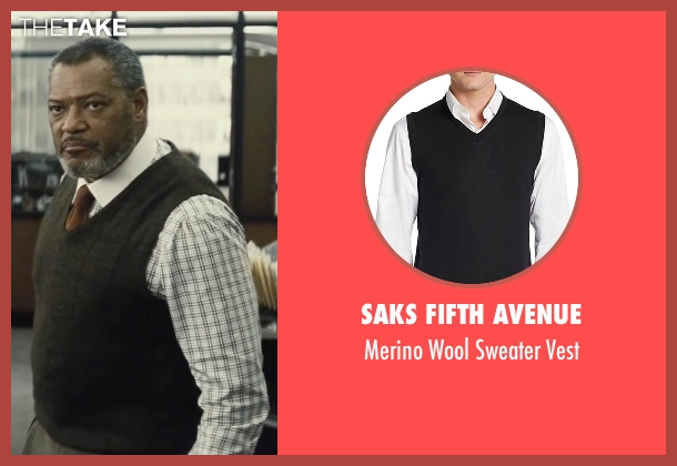 Saks Fifth Avenue black vest from Batman v Superman: Dawn of Justice seen with Laurence Fishburne (Perry White)