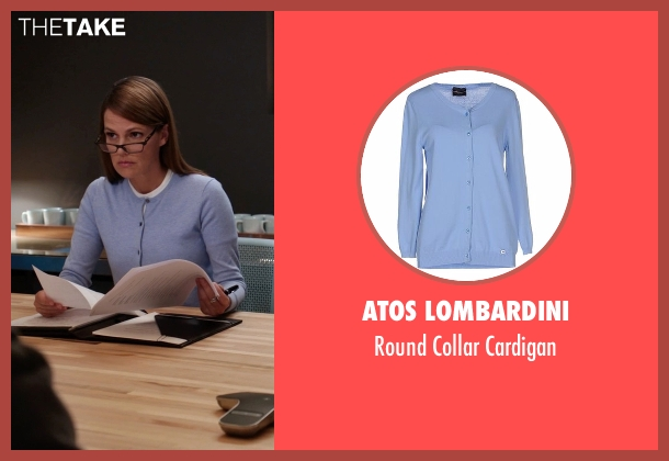 Atos Lombardini blue cardigan from Silicon Valley seen with Laurie Bream (Suzanne Cryer)