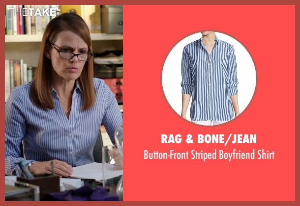 Rag & Bone/Jean blue shirt from Silicon Valley seen with Laurie Bream (Suzanne Cryer)