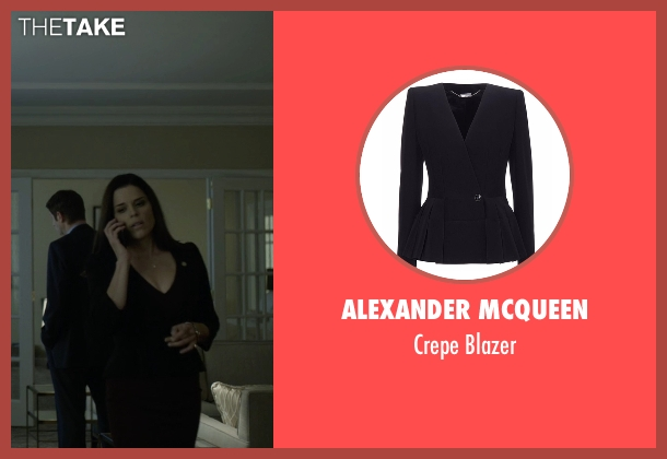 Alexander McQueen black blazer from House of Cards seen with Leann Harvey (Neve Campbell)