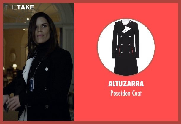 Altuzarra black coat from House of Cards seen with Leann Harvey (Neve Campbell)