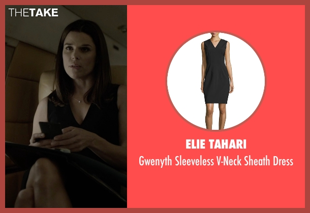 Elie Tahari black dress from House of Cards seen with Leann Harvey (Neve Campbell)