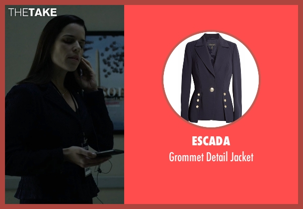 Escada blue jacket from House of Cards seen with Leann Harvey (Neve Campbell)