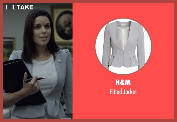 H&M gray jacket from House of Cards seen with Leann Harvey (Neve Campbell)