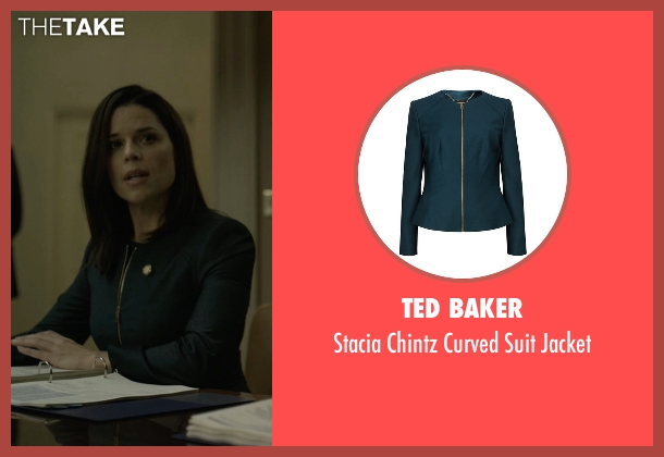 Ted Baker green jacket from House of Cards seen with Leann Harvey (Neve Campbell)