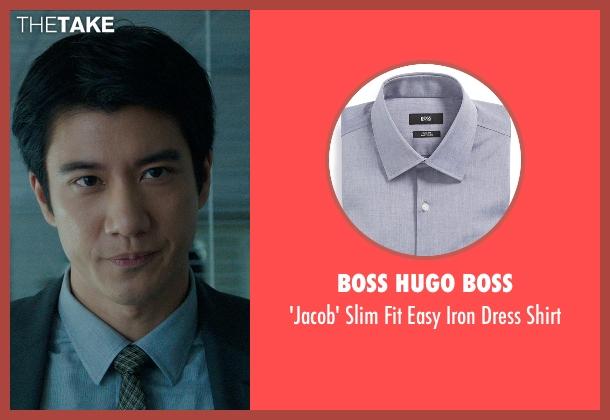 Boss Hugo Boss gray shirt from Blackhat seen with Leehom Wang (Chen Dawai)