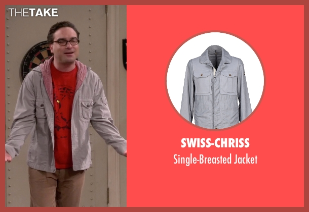 Swiss-Chriss beige jacket from The Big Bang Theory seen with Leonard Hofstadter (Johnny Galecki)