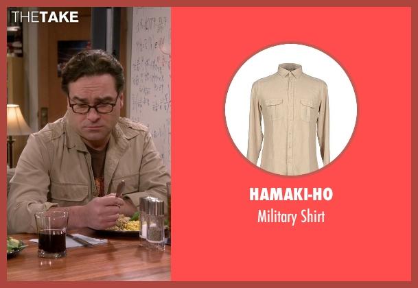 Hamaki-Ho beige shirt from The Big Bang Theory seen with Leonard Hofstadter (Johnny Galecki)